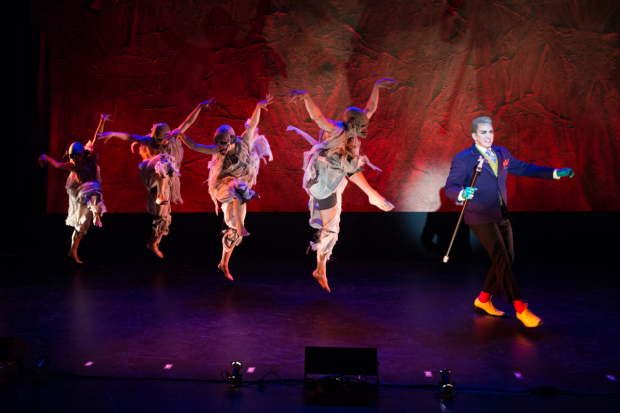 Brian Charles Rooney leads a chorus line of zombies in Ludo's Broken Bride, directed by Stacey Weingarten and Donna Drake, for NYMF at the Duke on 42nd Street.