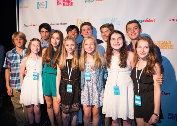 The cast of Camp Rolling Hills at NYMF. Back row (from left): Will Varvaro, James Ignacio, Mitchell Sink, Jonathan Elier, David Hoffman. Front row (from left): Jamie Martin Mann, Grace Rundhaug, Carrie Berk, Sammy Webster, Sammy Webster, Beatrice Tulchin, and Sophia Gennusa.