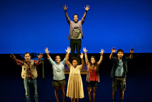 Heath Saunders (center) and the cast of Newton's Cradle, directed by Victoria Clark, for NYMF at the Duke on 42nd Street.