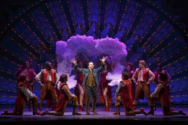 Rob McClure (center) leads the company of Karey Kirkpatrick, Wayne Kirkpatrick, and John O'Farrell's Something Rotten!, directed by Casey Nicholaw, at Broadway's St. James Theatre.