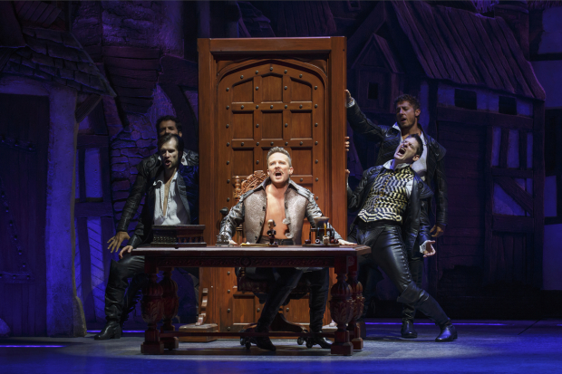 Will Chase (center) plays Shakespeare in Something Rotten!
