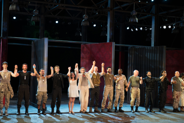 The cast of Troilus and Cressida celebrate opening night at the Delacorte Theater.