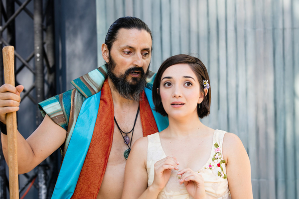 Thom Rivera (Prospero) and Erika Soto (Miranda) in The Tempest, directed by Matthew Earnest, at Griffith Park.