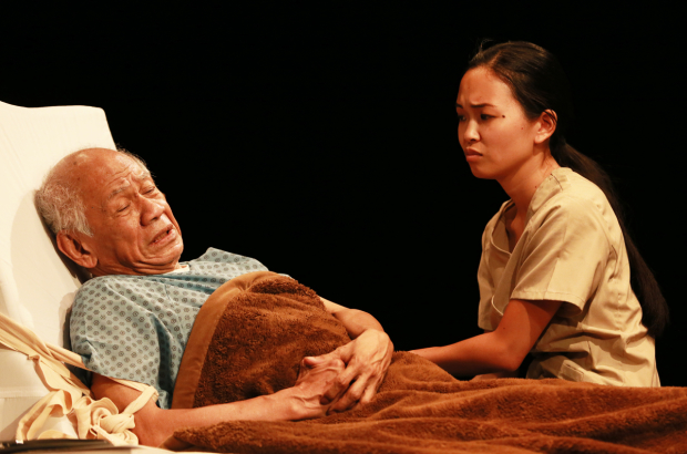 Muni Zano (Poncing Enrile) and Sarnica Lim (Pilita Santos) in the world premiere of As Straw Before the Wind, directed by Lesley Asistio, at the Ruby Theatre at the Complex.