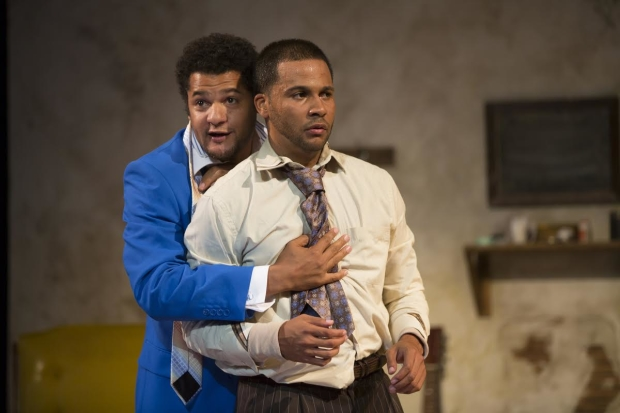 Brandon Dirden and Jason Dirden in Two River Theater's 2012 production of Suzan-Lori Parks' Topdog/Underdog.