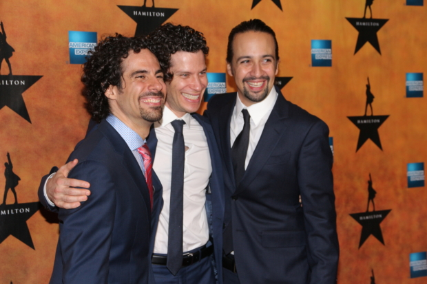Hamilton creator Lin-Manuel Miranda (right) with orchestrator Alex Lacamoire and director Thomas Kail on their Broadway opening night.
