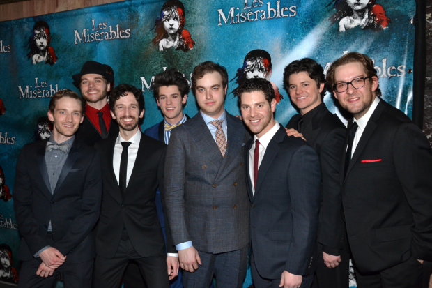 McCarrell (fourth from left) celebrates opening night with the male ensemble of Les Mis on March 23, 2014.