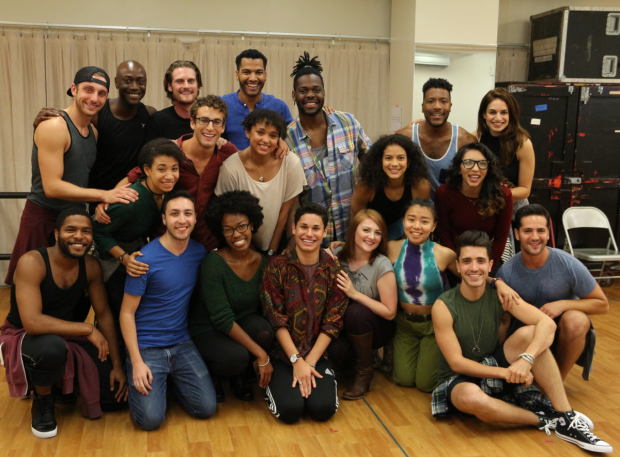 The 20th-anniversary touring company of Jonathan Larson's Rent meets the press in their rehearsal studio.