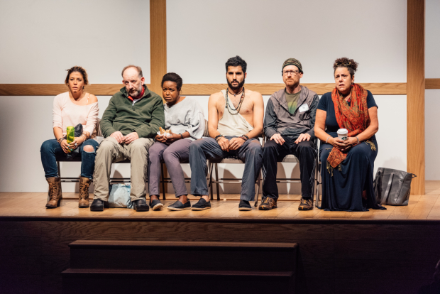 Zoë Winters, Max Baker, Quincy Tyler Bernstine, Babak Tafti, Brad Heberlee, and Marcia DeBonis in a scene from Bess Wohl's Small Mouth Sounds.