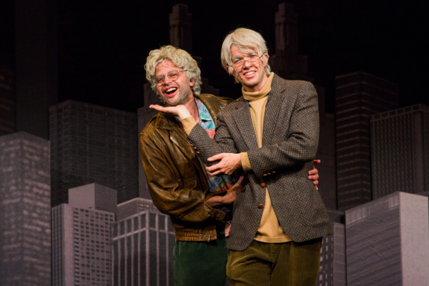 Nick Kroll stars as Gil Faizon and and John Mulaney stars as George St. Geegland in Oh, Hello on Broadway.