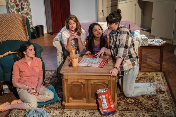 Anna Donnell, Katlynn Yost, Norma Chacon, and Nicole Fabbri in Sister Cities, directed by Ashley Neal, at the Den Theatre.