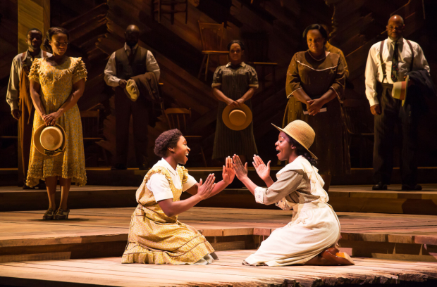 Cynthia Erivo, Joaquina Kalukango, and The Color Purple ensemble at the Bernard B. Jacobs Theatre.