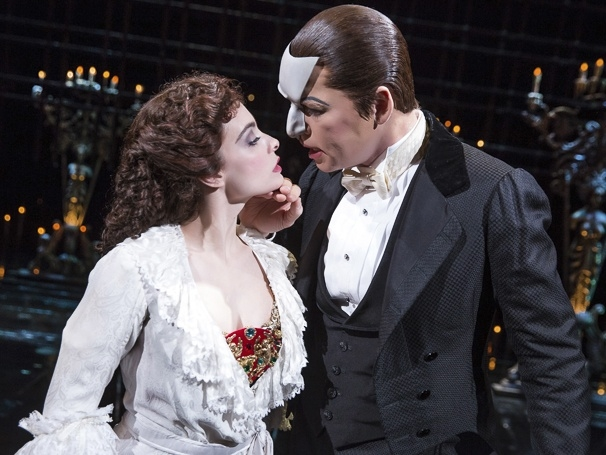 Julia Udine as Christine and James Barbour as the Phantom in The Phantom of the Opera at the Majestic Theatre.
