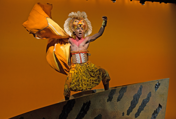 Aaron Nelson in scene from The Lion King on Broadway.