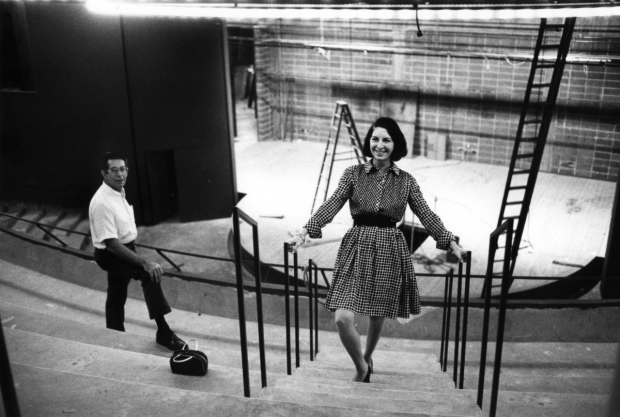 Arena Stage cofounders Tom and Zelda Fichandler during the construction of the Kreeger Theater in 1971.