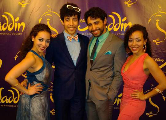Alanna, Heath, Trent, and Claire Saunders at the opening of Aladdin on Broadway.