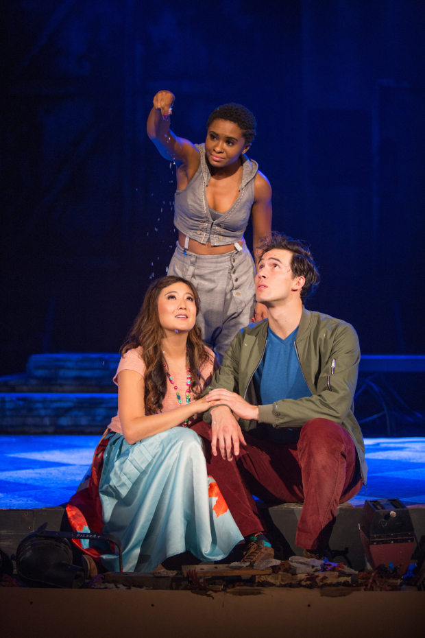 Ashley Park, Alyse Rockett (standing), and Conor Guzmán in The Pasadena Playhouse production of The Fantasticks.