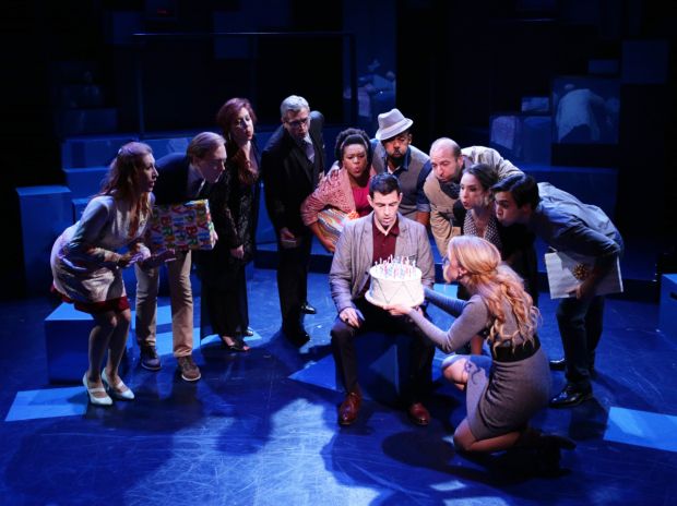 The cast of Company, directed by Spiro Veloudos, at Boston's Lyric Stage Company.