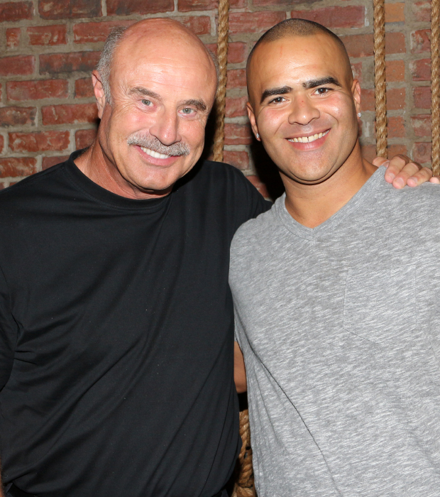 Dr. Phil McGraw poses with Hamilton Tony nominee Christopher Jackson, who stars in McGraw's upcoming television series, Bull.