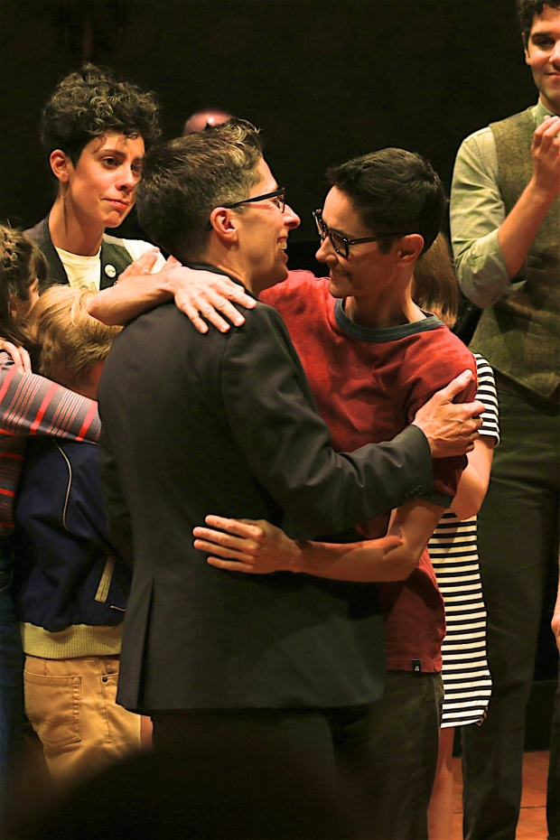 Alison Bechdel and Beth Malone share a hug as the curtain comes down on the Broadway run of Fun Home.