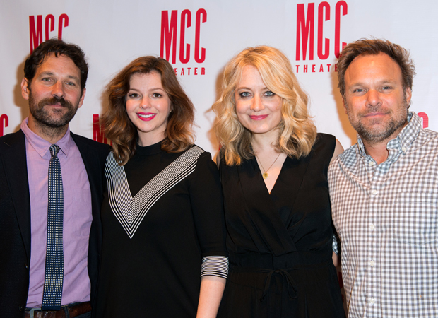 Paul Rudd, Amber Tamblyn, Jennifer Mudge, and Norbert Leo Butz starred in a one-night reading of Neil LaBute's Reasons to Be Pretty Happy as a benefit for MCC Theater.