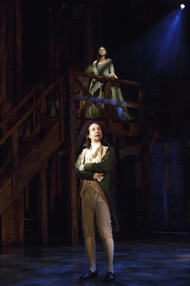 Lin-Manuel Miranda as Alexander Hamilton during Hamilton's off-Broadway run at the Public Theater.