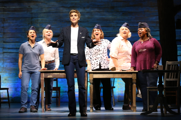 Jenn Colella (front) and the cast of Come From Away at Ford's Theatre.