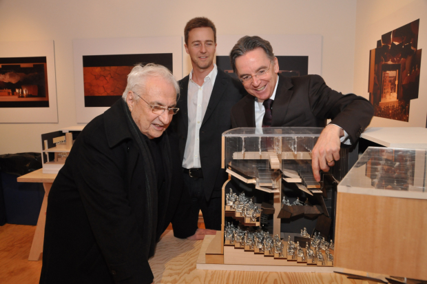 Frank Gehry, Ed Norton, and James Houghton examine a model of Signature's Alice Griffin Jewel Box Theatre in 2010.