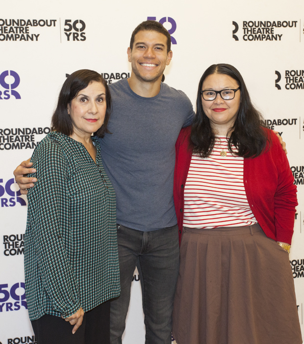 Socorro Santiago (Delores Aquendo), Alex Hernandez (Dominick Aquendo), and Carmen M. Herlihy (Samantha Carlin) pose for a photo.