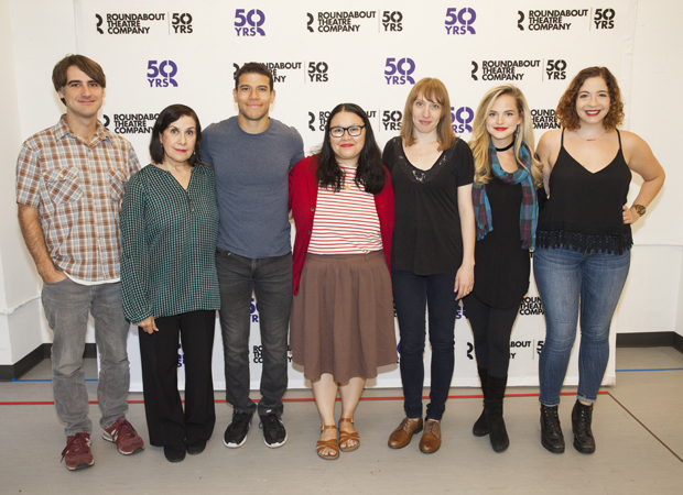 The cast of Kingdom Come (center) poses with their director, Kip Fagan (left), and playwright, Jenny Rachel Weiner (right).