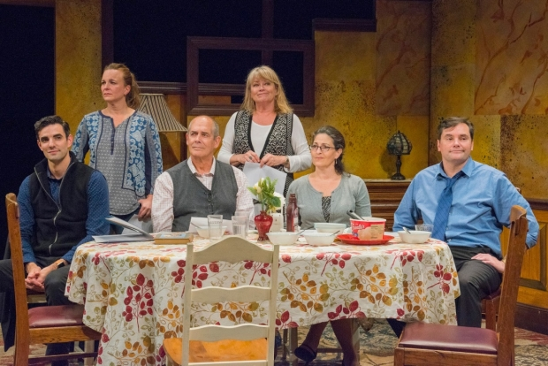 The cast of Regular Singing, directed by Weylin Symes, at New Repertory Theatre.