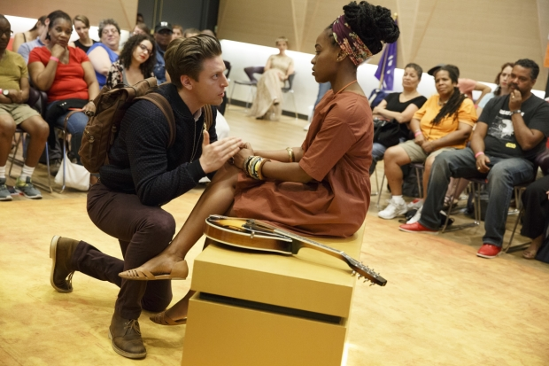 Christian DeMarais and Kristolyn Lloyd in The Public's Mobile Unit production of Hamlet, directed by Patricia McGregor and running at The Public Theater, following a free tour to the five boroughs.
