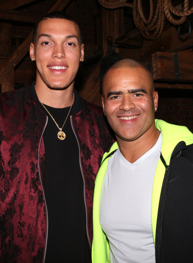 Hamilton Tony nominee Christopher Jackson poses backstage with Orlando Magic player Aaron Gordon.