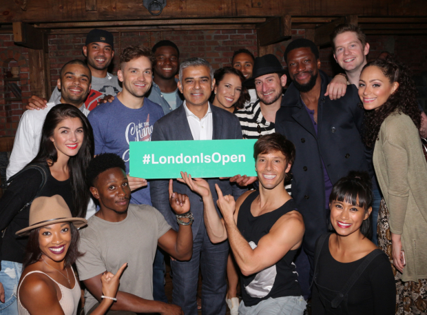 London Mayor Sadiq Khan poses with the cast of Hamilton on Broadway.