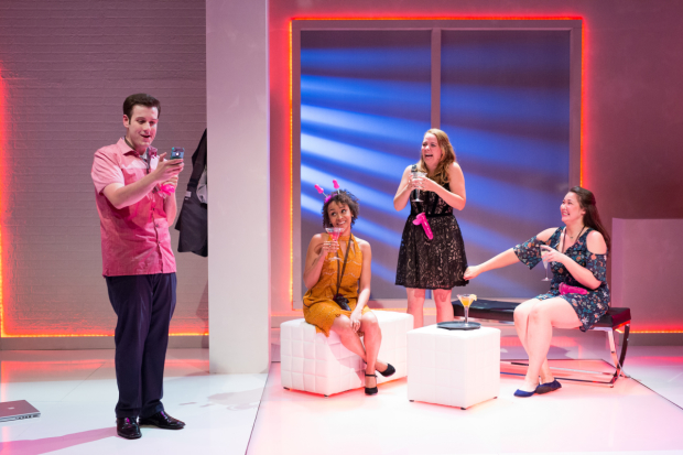 Greg Naraio, Kris Sidnerry, Sarah Elizabeth Bedard, and Jordan Clark in Significant Other, directed by Paul Daigneault, at SpeakEasy Stage Company.