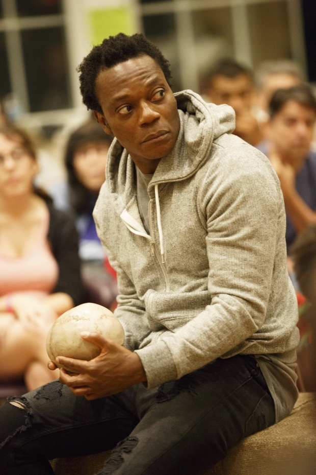 Chukwudi Iwuji plays the title role in the Mobile Unit production of Hamlet, directed by Patricia McGregor, at the Public's Shiva Theater.