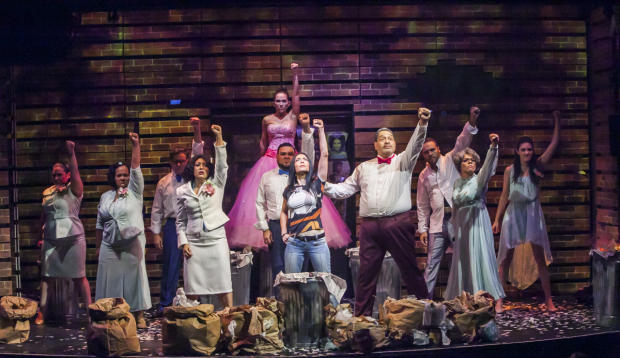 """The cast of I Like It Like that performs the first-act finale, """"Justicia."""""""