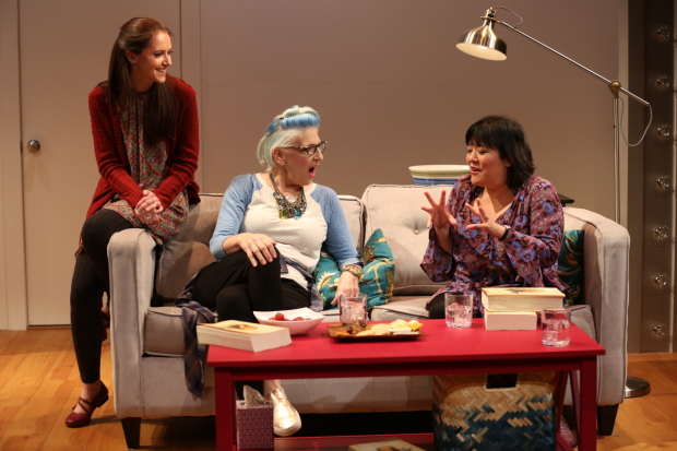 Jessica Luck, Lisa Lampanelli, and Ann Harada in a scene from Stuffed at the McGinn/Cazale Theatre.