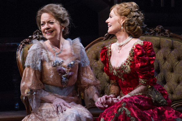 Isabel Keating as Birdie Hubbard and Marg Helgenberger as Regina Giddens in Lillian Hellman's The Little Foxes, directed by Kyle Donelly, at Arena Stage.