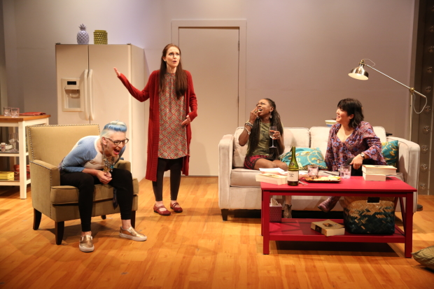 Lisa Lampanelli, Jessica Luck, Zainab Jah, and Ann Harada star in Lampanelli's Stuffed, directed by Jackson Gay for Women's Project Theater at the McGinn/Cazale Theatre.