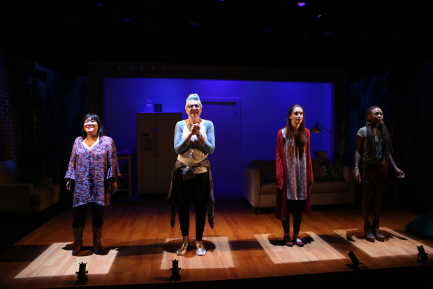 Ann Harada, Lisa Lampanelli, Jessica Luck, and Zainab Jah step on the scale in Stuffed.