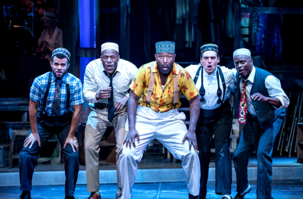 Justin Keyes, Chris Sams, Tyrone L. Robinson, Will Skrip, and Sean Blake in Smokey Joe's Cafe, directed by Marcia Milgrom Dodge, at Drury Lane Theatre.
