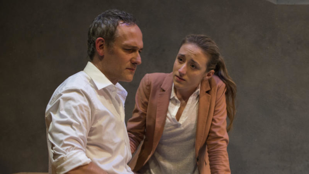 Olivia Cygan (Sophie Martin) and Coburn Goss (Ryan Martin) in The Burials, directed by Erica Weiss, at Steppenwolf for Young Adults.