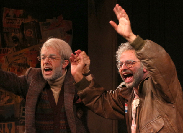 John Mulaney as Gil Faizon and Nick Kroll as George St. Geegland take their bow on the opening night of Oh, Hello on Broadway.