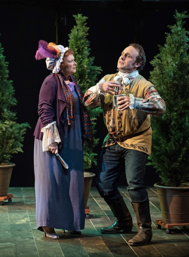 Cynthia Darlow as Mrs. Hardcastle and Richard Thieriot as Tony Lumpkin in Oliver Goldsmith's She Stoops to Conquer, directed by Scott Alan Evans for the Actors Company Theatre, at the Clurman on Theatre Row.
