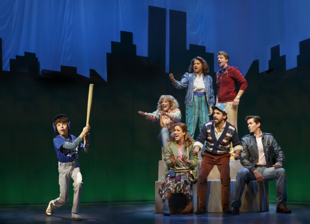 Anthony Rosenthal, Betsy Wolfe, Tracie Thoms, Christian Borle, Andrew Rannells, Brandon Uranowitz, and Stephanie J. Block in the 2016 revival of Falsettos at the Walter Kerr Theatre.
