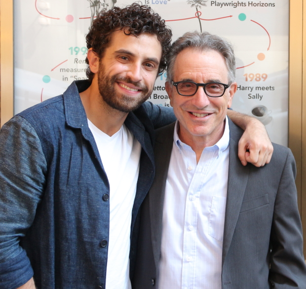 New Falsettos cast member Brandon Uranowitz and original player Chip Zien pose outside the Walter Kerr Theatre, where the current revival runs.