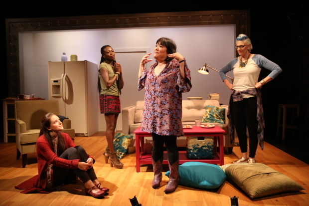 Jessica Luck, Zainab Jah, Ann Harada, and Lisa Lampanelli in a scene from Stuffed.