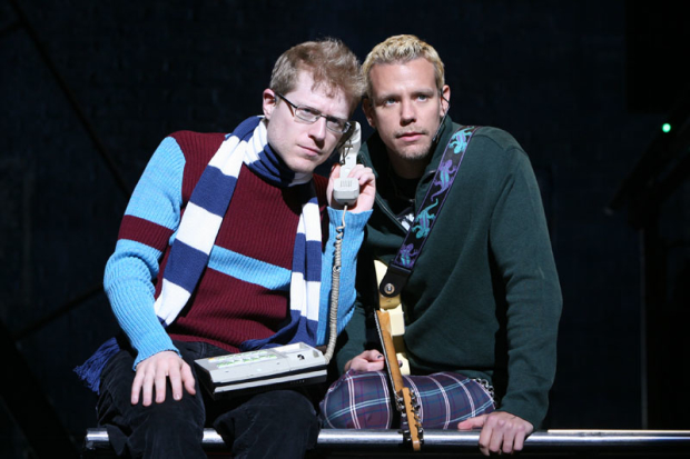 Anthony Rapp as Mark and Adam Pascal as Roger in Rent on Broadway.