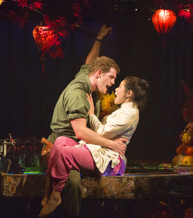 Alistair Brammer and Eva Noblezada in a scene from Miss Saigon.